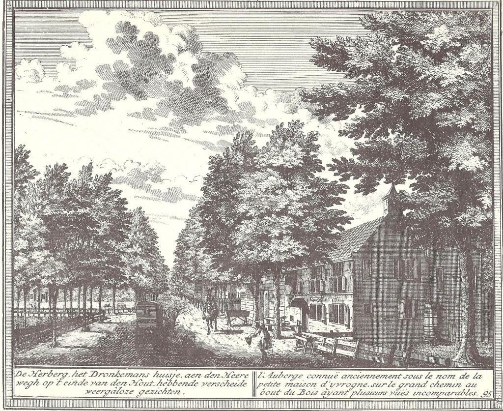 De herberg het Dronkemans huisje aan de Heerenweg op een prent van Hendrik d