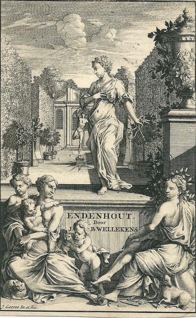 Titelgravure van hofdicht 'Endenhout' door J.B.Wellekens in 'Dichtlievende U